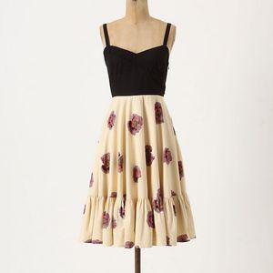 Anthropologie Night and Day Floral Fit Flare Dress